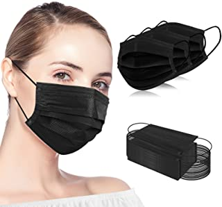 100PCS Black Disposable Face Masks 3 Ply Protection Safety Mask Cover for Adult Women and Men