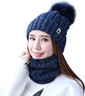 Home Prefer Womens Winter Beanie Hat Scarf Set Warm Fuzzy Knit Hat Neck Scarves