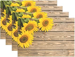 MOYYO Sunflowers on the Wooden Placemat Heat Resistant Non-Slip Polyester Place mats Washable Table Mats Easy to Clean for Dining Kitchen Table Decor Set of 6
