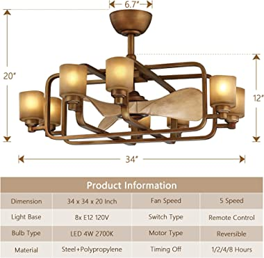 MOTINI Designer Caged Ceiling Fan with Lights Remote Control, 8-Light Chandelier Brushed Antique Brass Finish with Vintage Re
