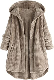TIFENNY A-line Plush Pullover for Women Winter Solid Plus Size Hooded Long Sleeve Hoodie Pocket Tops Sweater Blouse