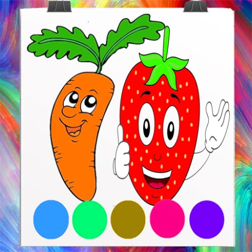 funny vegetables and Fruits Coloring Book