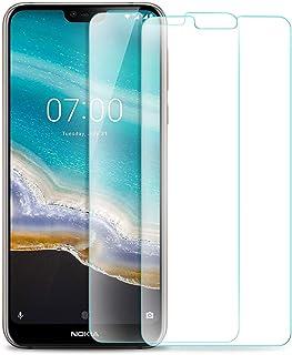 شاشة حماية لموبايل نوكيا 7.1، شاشة حماية شفافة 9 اتش عالية الدقة HD من الزجاج المقوى لموبايل نوكيا 7.1 الذكي (عبوتان)