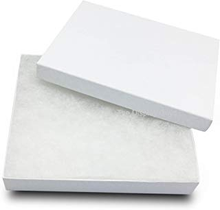 The Display Guys~ Pack of 100 Cotton Filled Cardboard Paper White Jewelry Box Gift Case -White Swirl (6-1/8 x 5-1/8 x 1-1/8 inches #65)