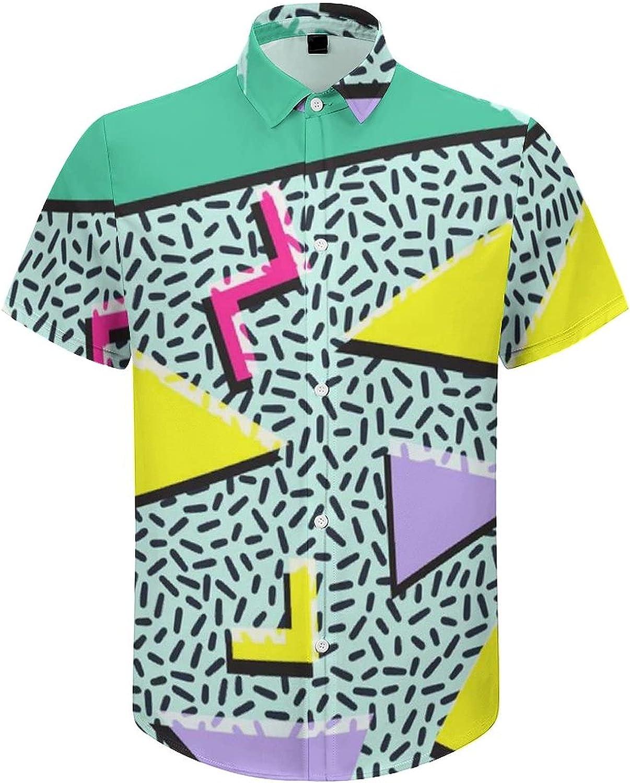 Hawaiian Shirts for Men 80s Memphis 90s Green Pattern Printed Beach Shirt Hawaiian Shirts