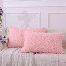 Fluffy Fur Pillowcase Set of 2, Super Soft and Cozy, Luxury Shaggy Velvet Flannel Cute Decorative Pillow Cases for Home Bedroom Living Room, Covers with Zipper Closure - Standard Queen Size, Pink