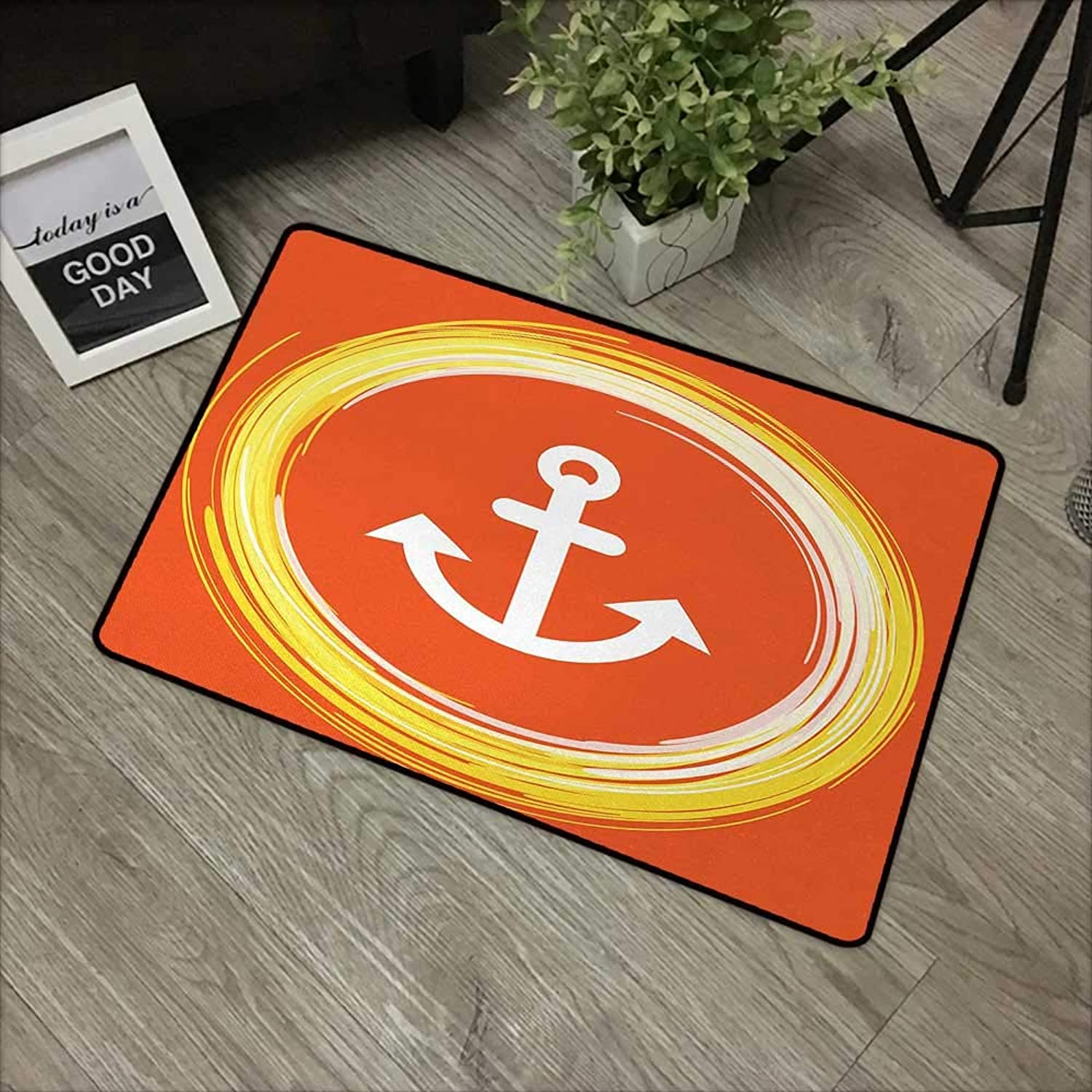 Bathroom Door mat W35 x L59 INCH Anchor,Anchor Image in a Circle Round Enlightened Drawing Controlling The Seabed Print,orange Yellow Easy to Clean, Easy to fold,Non-Slip Door Mat Carpet