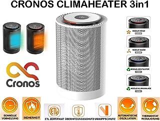 CroNOS CLIMAHEATER - Calefactor 3 en 1 (termostato, protección antivuelco y protección contra sobrecalentamiento, 1200 W, Certificado ETL), Color Blanco