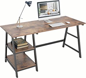 DlandHome 55 inch Computer Desk with Storage Shelf, Trestle Desk, Home Office Desk/Workstation/Writing Table with Opening Shelves, Tplus (55 inches, Vintage)