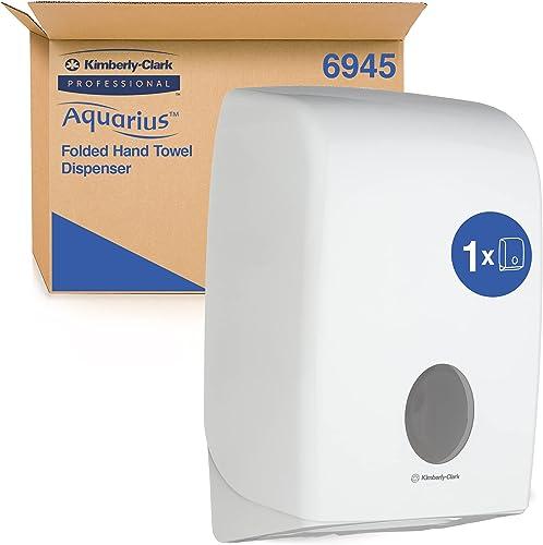 Aquarius 6945 Distributeur d'Essuie - Mains Pliés - 1x Distributeur Blanc d'Essuie - Mains
