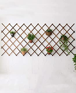 Outdoor Herb Flower Plant Stands Wooden Decoration Wall Hanging Flower Frame Garden Wood Grid Frame Outdoor Wooden Fence Flower Frame Wall Flower Frame Indoor and Outdoor Use Vintage Style (