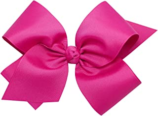 Wee Ones Baby Girls' Colossal Classic Grosgrain Hair Bow on a French Clip w/Knot Wrap Center - Shocking Pink