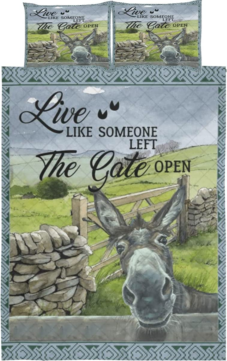 Donkey Super Special SALE held Quilt Bedding Set - Live Inventory cleanup selling sale Left Like Open The Gate Someone
