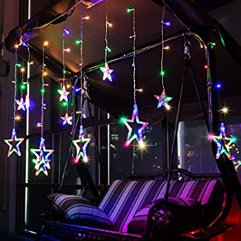 Citra LED Curtain String Lights with Stars and 138 Pieces and 8 Modes Lights (Multicolor)