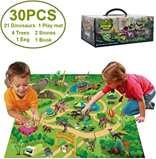 Estinoble Dinosaur Toy Figure w/Activity Play Mat & Trees & Egg, STEM Toys Educational Realistic Dinosaur Play Set to Create A Dino World Including T-Rex, Triceratops, Velociraptor, 21pcs Dinosaurs