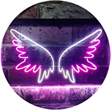 Angel Wings Girl Room Dual Color LED Neon Sign White & Purple 600 x 400mm st6s64-i3370-wp