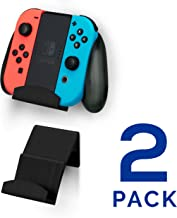 Brainwavz Switch Controller Wall Mount Stand Holder (2 Pack) for Nintendo Switch Controller Grip - No Screws, Stick on, Black