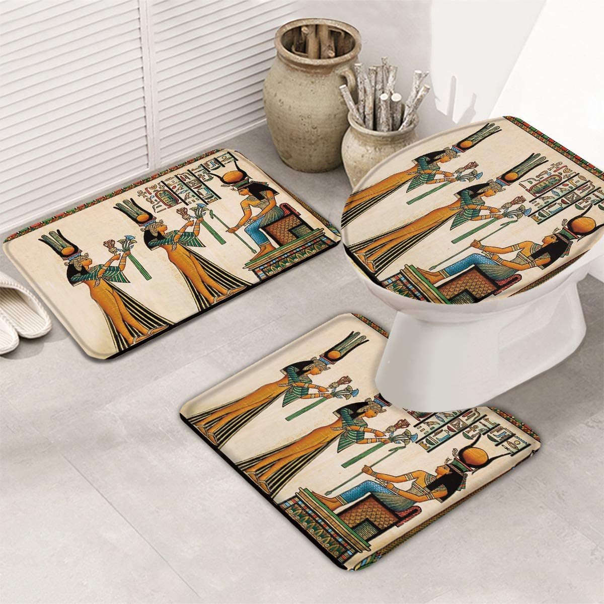 IDOWMAT 3 Piece Bath Rug Civilization and Mats Be Louisville-Jefferson County Mall super welcome Bathroom Mural Ru