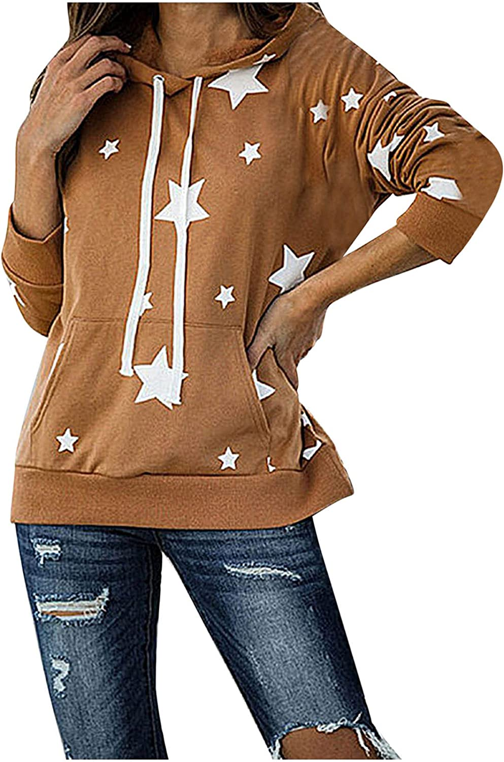 Women's Casual Five-Pointed Star Printing Crewneck Hooded Pullover Tops Long Sleeve Sweater Loose Fashion Sweatshirt