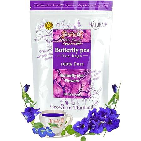 Dried 30 Tea bags Butterfly pea tea flower dried Origin in Thailand Natural Taste