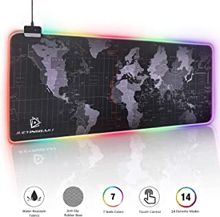 RGB Gaming Mouse Pad - Large Cool RGB Gaming Mouse Mat With Nylon Thread Stitched Edges & Smoothly Waterproof Non-Slip Rubber Base (31.5