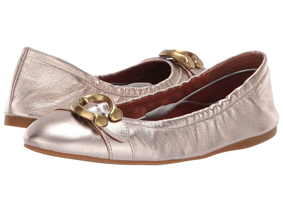 COACH Stanton Ballet with Signature Buckle (Champagne Metallic Leather) Women