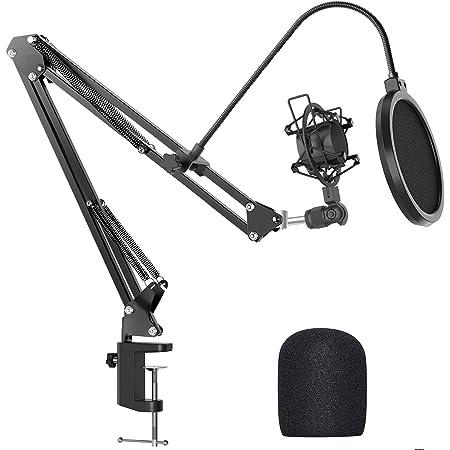 JEEMAK asta microfono, supporto microfono regolabile da scrivania con braccio a forbice a sospensione, carico massimo 1,5 kg, realizzato in acciaio resistente, montaggio a urto, filtro pop,