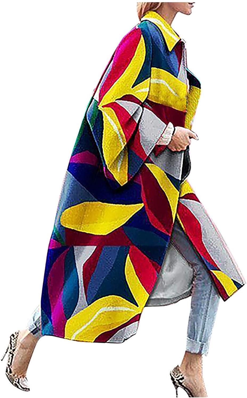 HGWXX7 Womens Trench Coat Ethnic Print Long Sleeve Lapel Jacket