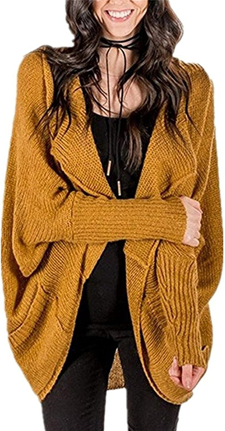NiuBia Womens Oversized Open Front Cardigans Long Dolman Sleeve Cable Knit Loose Irregular Sweaters with Pockets