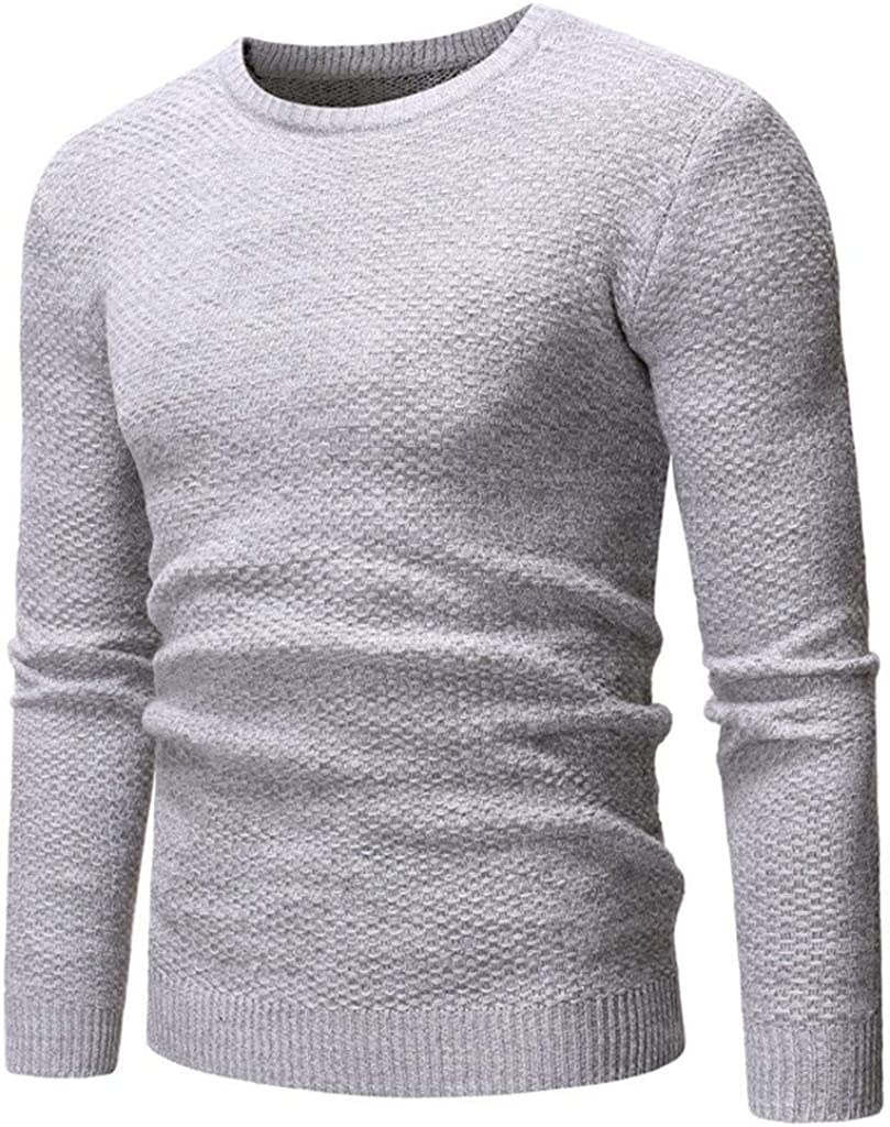 MODOQO Men's Cable Knit Sweater Crew Neck Long Sleeve Warm Soft Pullover
