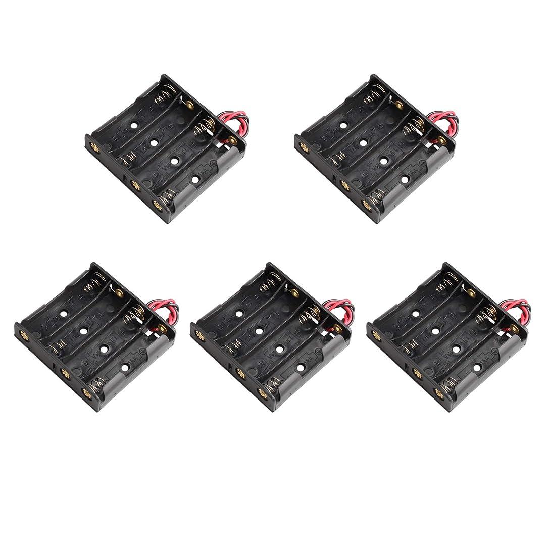 ストレスの多いもっと少なく結婚したバッテリーホルダー ストレージボックス ブラック プラスチック 5個 4 x 1.5V 6V 単3形電池ホルダーケース