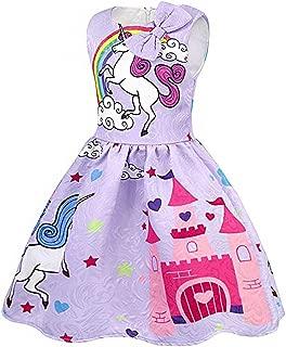 Summer Autumn Girls Sleeveless Unicorn Dress Toddler Long Sleeve Rainbow Bow Casual Dress 2-12T