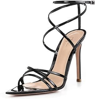 Women Ankle Strap Stilettos High Heels Criss Cross Sandals Open Toe Bridal Wedding Evening Dress Casual Party Shoes