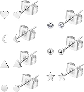 Sllaiss 7 Pairs Tiny Geometric Stud Earrings Set Stainless Steel CZ Ball Heart Star Cartilage Earrings Studs for Women Helix Ear Piercing Set With Gift Box