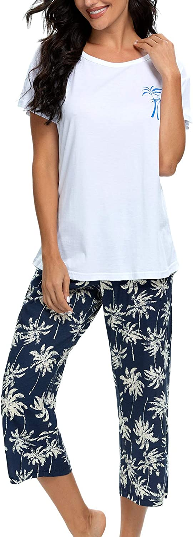 Womens Seersucker Summer Pajamas Set Women Cotton Nightgowns Housecoats For Women Sleepwear Soft PJs Sets Women Pj