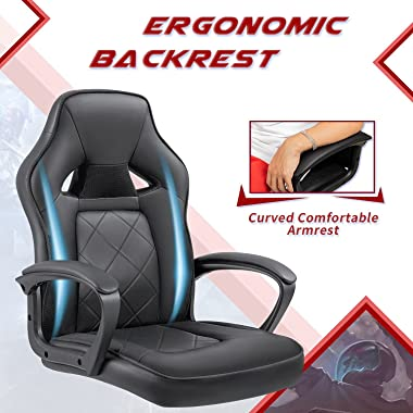 Furniwell Gaming Chair Video Game Chair Computer Desk Chair Racing Style Gamer Chair Leather High Back Office Chair with Lumb