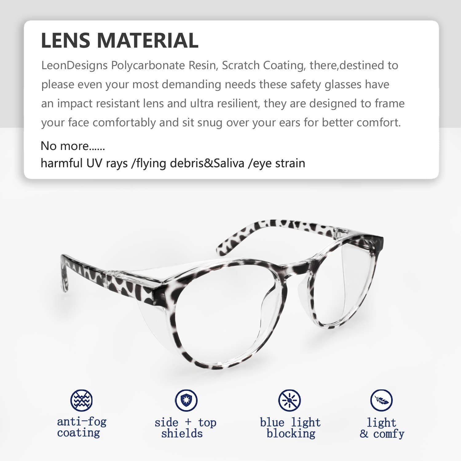 Fashion Eye Protection Blue Light Blocking Glasses with Side Shields LeonDesigns Stylish Round Safety Glasses Anti-Fog Women coffee Lab Clear Protection Goggles