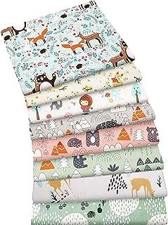 Aubliss 8pcs Fat Quarter Fabric Bundles 100% Cotton 20'' x 20''(50cm x 50cm) Quilting Cotton Craft Fabric Pre-Cut Squares ...