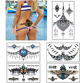 Large Tattoos Fake Temporary Jewelry Body Tattoos Art Stickers for Women Men Teens, VIWIEU 3D Realistic Girls Chest Tempor...