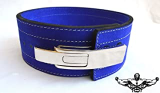 Quest Powerlifting Belt with Lever Buckle (Blue) - 10mm Weightlifting Crossfit Strongman