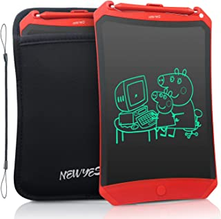 NEWYES Robot Pad 8.5 Inch LCD Writing Tablet Electronic Writing Pads Drawing Board Gifts for Kids Office Blackboard with Lock Function (Red+Case+Lanyard)