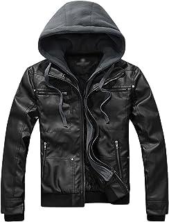 Springrain Men's Casual Slim Removable Hood Faux Leather Jackets