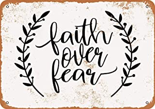 Fersha 8 x 12 Inches Metal Sign - Faith Over Fear 2 - Vintage Look Wall Plaque