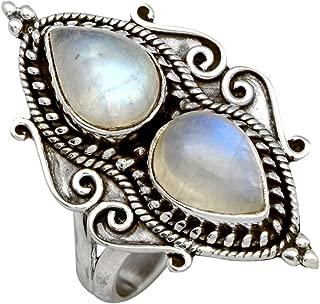 Rainbow Moonstone Solid 925 Sterling Silver Designer Gemstone Ring