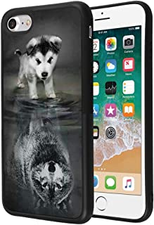 Wolf iPhone 7 8 Case Customized Design Anti-Scratch Flexible Shock Absorption Soft TPU Protective Phone Case For iPhone 7 8-Black