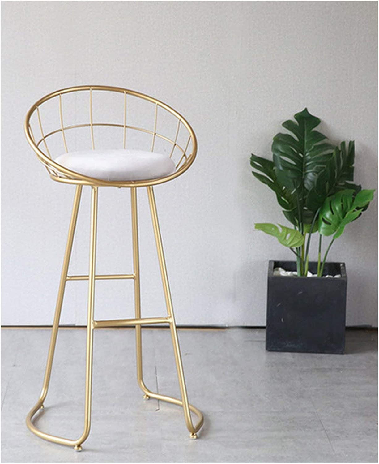 Metal Creative Nordic Bar Stool Bar Chair Fashion Counter Stool High Stool Simple Dining Chair,gold Height 75CM