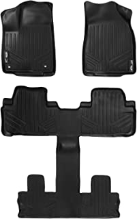 SMARTLINER Floor Mats 3 Row Liner Set Black for 2014-2019 Toyota Highlander with 2nd Row Bucket Seats (No Hybrid Models)