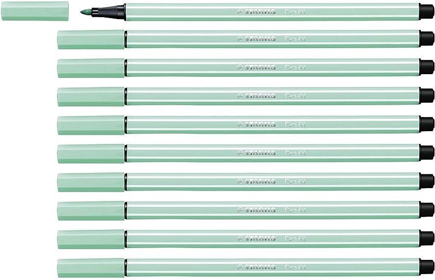 STABILO Pen 68 ice Green Pack of 10 - Premium Felt-tip Pen