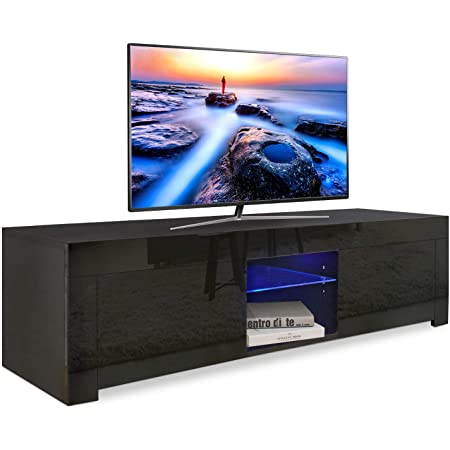 Dripex Led Tv Stand Unit For Living Room High Gloss Entire Front 130 Cm Tv Table Bench Cabinet Cupboard Black Amazon Co Uk Kitchen Home