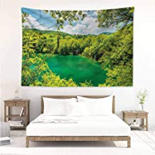 Sunnyhome Simple Tapestry,National Parks Lake Inside Forest,Wall Tapestry for Bedroom,W23x19L